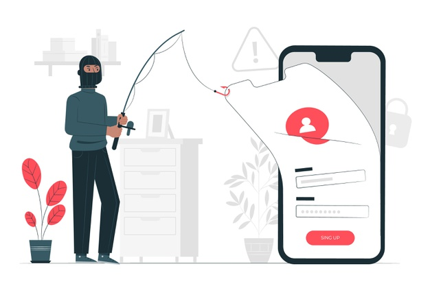 A hacker phishing the small business