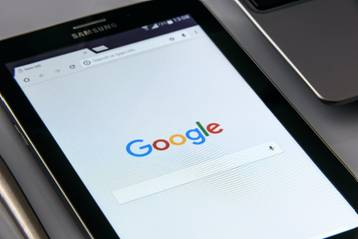 Search engine open on a tablet.
