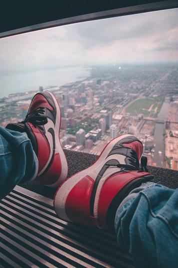 Red and black Air Jordan's